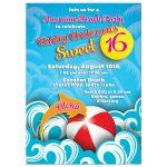 Hawaiian luau beach themed sweet 16 birthday party invitation front