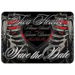 Two hearts Skeletons Save the Date Wedding Invitation