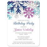 Birthday Party Invitations - Turquoise Navy Orchid Snowflake