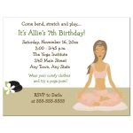 Yoga Party Birthday Invitation - Girl with Light Brown Hair Color
