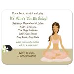 Yoga Party Birthday Invitation - Girl with Dark Brown Hair Color