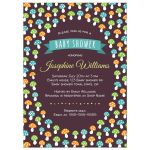 Cute orange, green and blue mushrooms baby shower invitation for baby boys.