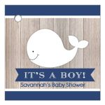 Rustic Nautical White Whale Navy and White Gift Tags