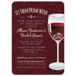 Bridal Wedding Shower Invitation - Rings in a Wine Glass