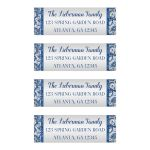 Best bat Mitzvah return address labels in royal blue and silver with white snowflakes