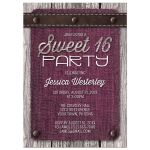 Sweet 16 Party Invitations - Pink Denim Wood Leather Rustic
