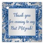Best blue and silver bat mitzvah favor tag with white snowflakes and glitter