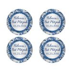 Best personalized winter bat mitzvah favor stickers in blue and silver
