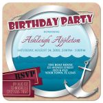 Birthday Party Invitations - Nautical Anchor & Porthole At Sea