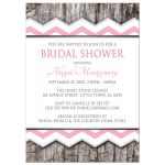 Bridal Shower Invitations - Pink Chevron & Rustic Wood