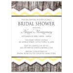 Bridal Shower Invitations - Yellow Chevron & Rustic Wood