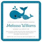 Cute whale sea critter baby shower invitation for boys with mommy and baby whales.