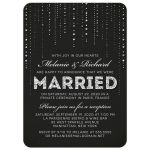 Glitter Look Streaming Gems Post Wedding Reception Only Invitations front
