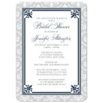 Bridal Shower Invitations - Navy and Gray Elegant Damask