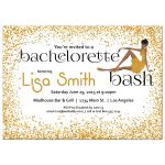 Woman of color with fancy dress and gold Glitter Bachelorette Party Invitation