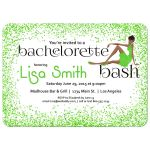 Woman of color with fancy dress and green Glitter Bachelorette Party Invitation