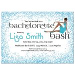 Woman of color with fancy dress and Blue Glitter Bachelorette Party Invitation