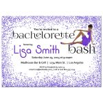 Woman of color with fancy dress and purple Glitter Bachelorette Party Invitation
