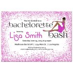 Woman of color with fancy dress and pink Glitter Bachelorette Party Invitation