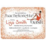 Woman of color with fancy dress and orange Glitter Bachelorette Party Invitation