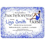 Woman of color with fancy dress and royal Blue Glitter Bachelorette Party Invitation