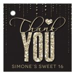 Glitter Look Streaming Gems Sweet 16 Thank You Favor Tags front