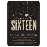 Glitter Look Streaming Gems Sweet 16 Party Invitations front