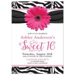 hot pink daisy, black and white zebra print sweet 16 birthday party invitation front