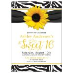 sunflower, black and white zebra print sweet 16 birthday party invitation front