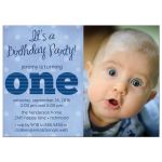Striped One First Birthday Party Invitations front