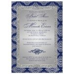 Best navy blue and silver grey bridal shower invitations