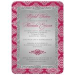 Great raspberry pink and silver grey bridal shower invitations