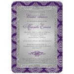 Best purple and silver grey bridal shower invitation with glitter and damask