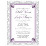 Bridal Shower Invitations - Plum Purple and Gray Elegant Damask