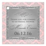 Best blush pink and silver gray glitter damask bridal shower favor tag