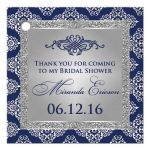 Best navy blue and silver gray glitter damask bridal shower favor tag