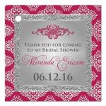 Best berry pink and silver gray damask bridal shower favor tag with glitter