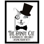 Great cat art print with moustache and victorian insult