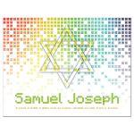 Video game inspired raining digital computer pixels Bar Mitzvah thank you card front