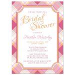 Bridal Shower Invitations - Pink & Orange Plaid