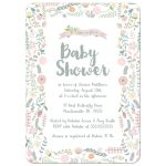 Watercolor floral frame baby shower invitations