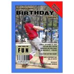 Blue Sports Magazine Cover Style Birthday Party Photo Invitation