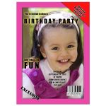 Pink Teen Magazine Cover Style Birthday Party Photo Invitation