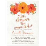 Watercolor Summer Garden Florals Baby Shower Invitations front