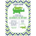 Cute Preppy Alligator Boy Birthday Invitation any age