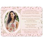 Great blush pink mis quince anos invitation with princess carriage, horse and gold glitter