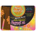 A 1970s (70s) disco themed bellbottom record sweet 16 birthday party invitation front