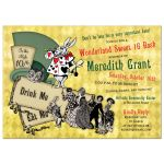 Wonderland sweet 16 birthday party invitation featuring the Mad Hatter's hat, the white rabbit, cheshire cat front