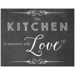 11x14 This Kitchen Is Seasoned With Love Chalkboard Kitchen Wall Art