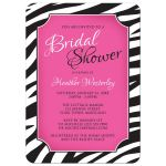Bridal Shower Invitations - Chic Zebra Print Pink